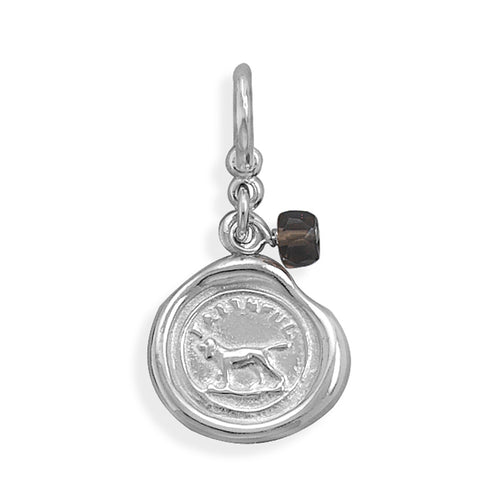 Faithful Dog Charm with Smoky Quartz Bead Sterling Silver