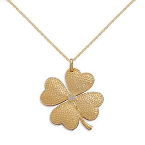 Four Leaf Clover Shamrock Hearts Pendant CZ Gold-plated Silver, Chain Included
