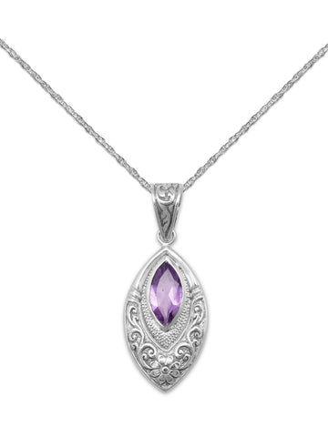 Sterling Silver Amethyst Necklace with Marquise Stone and Rope Chain