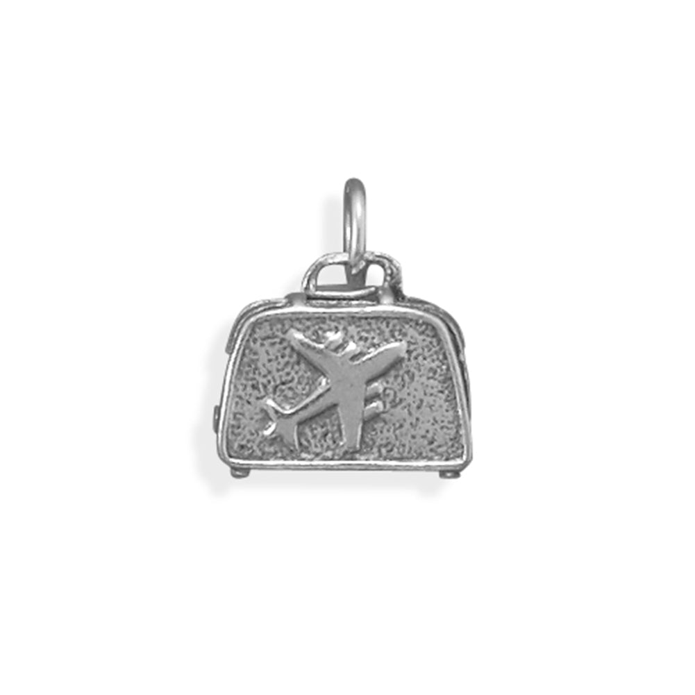 Suitcase Airplane Travel Charm Sterling Silver, Made in the USA