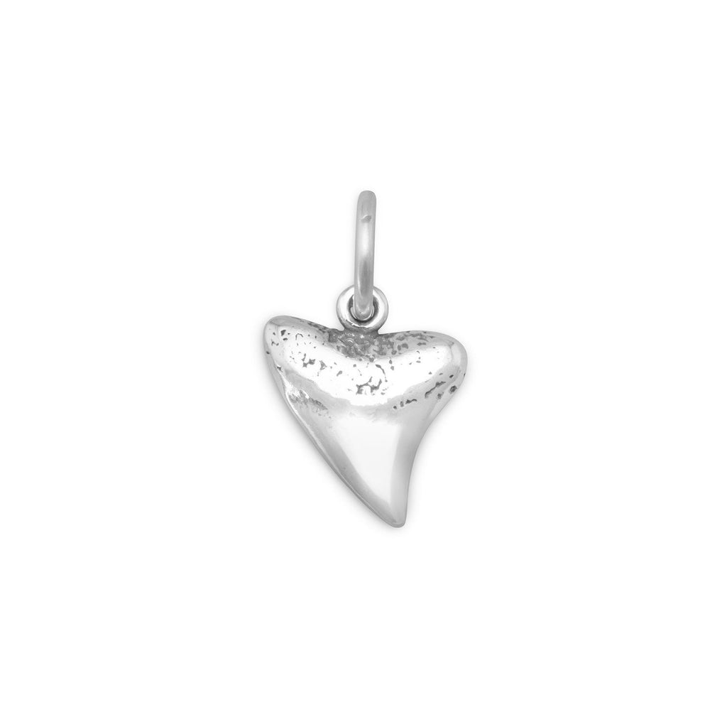 Sharks Tooth Charm Antiqued Sterling Silver - Made in the USA