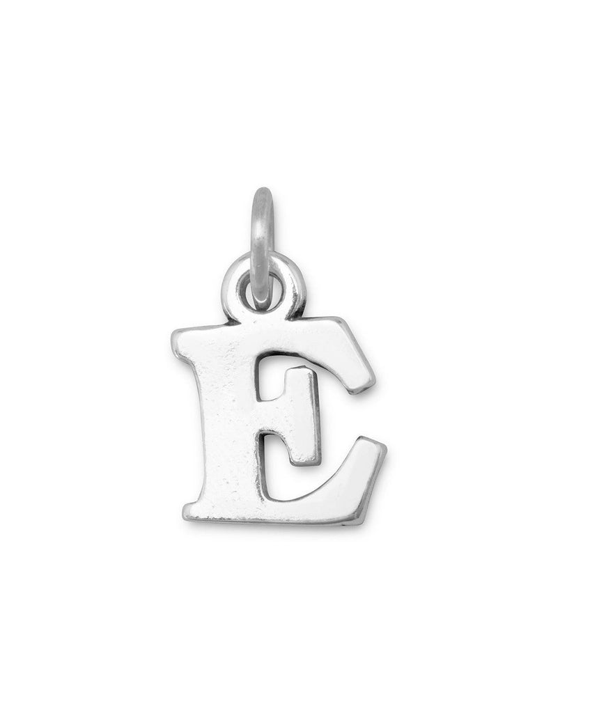 Alphabet Letter E Charm Sterling Silver - Made in the USA
