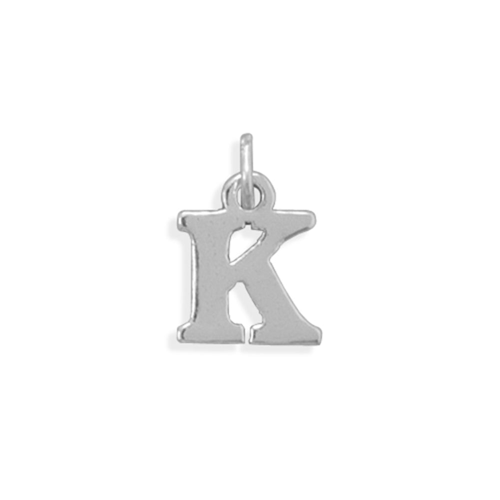 Alphabet Letter K Charm Sterling Silver - Made in the USA