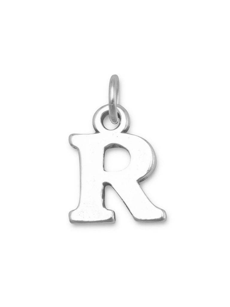 Alphabet Letter R Charm Sterling Silver - Made in the USA