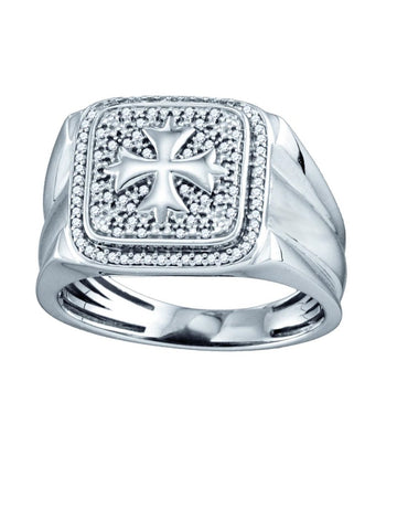 Mens Pave Halo Diamond Iron Cross Ring with Fleuree Rhodium on Sterling Silver