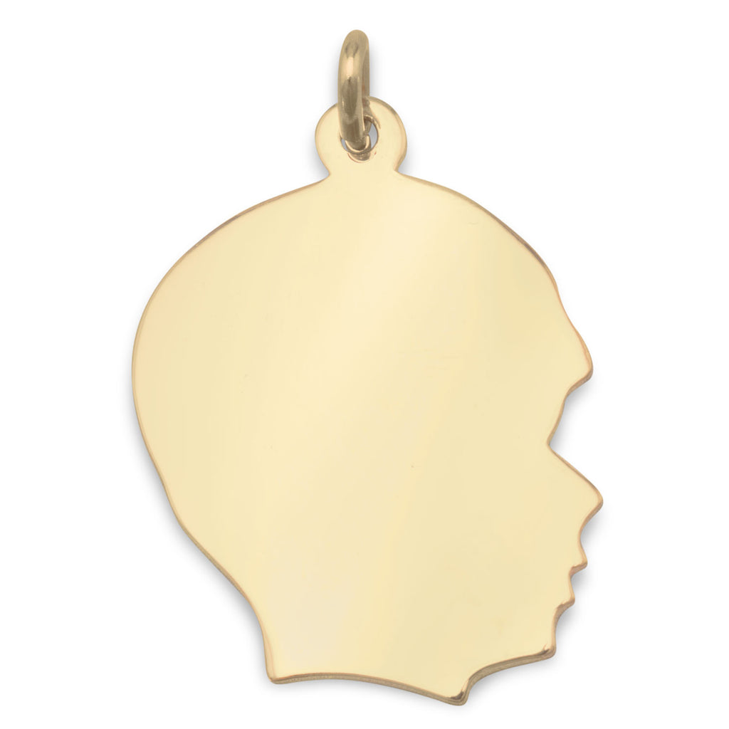 Gold-filled Engravable Boy's Silhouette Pendant - Made in the USA