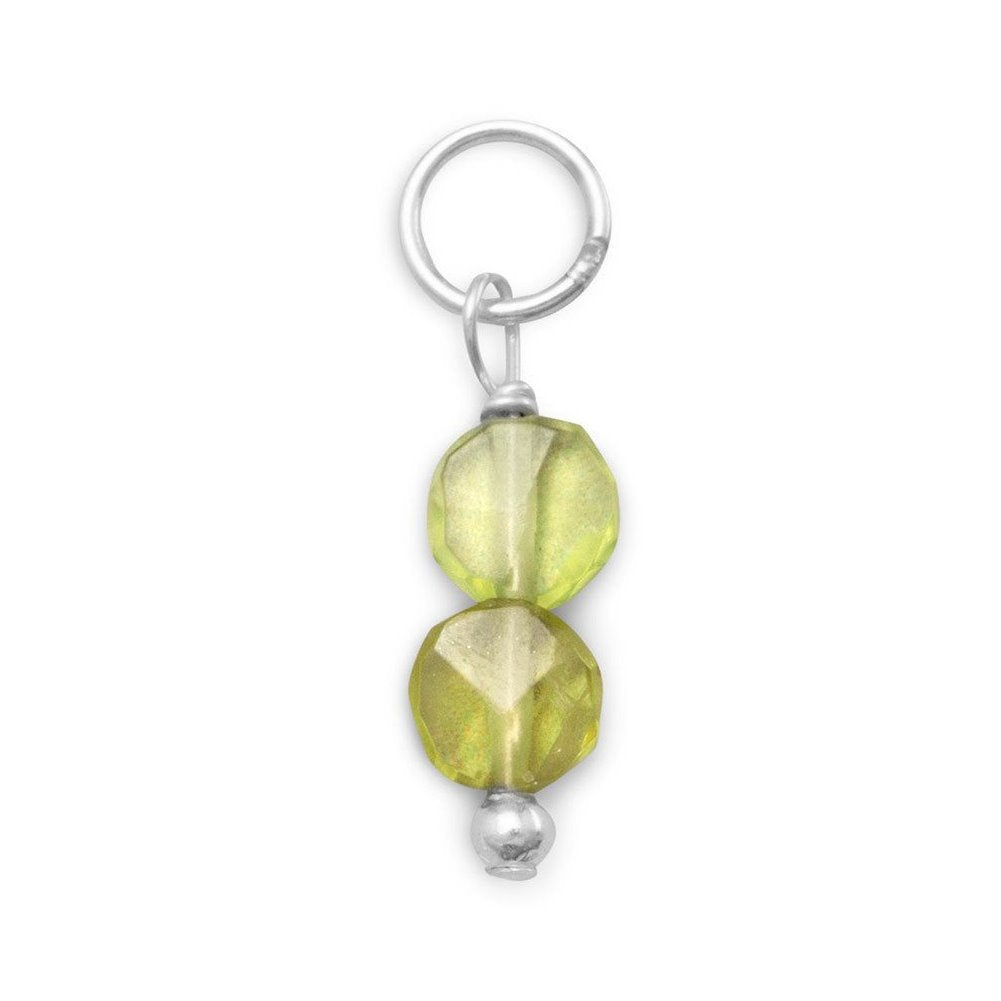 Sterling Silver Double Coin Bead Peridot August Charm