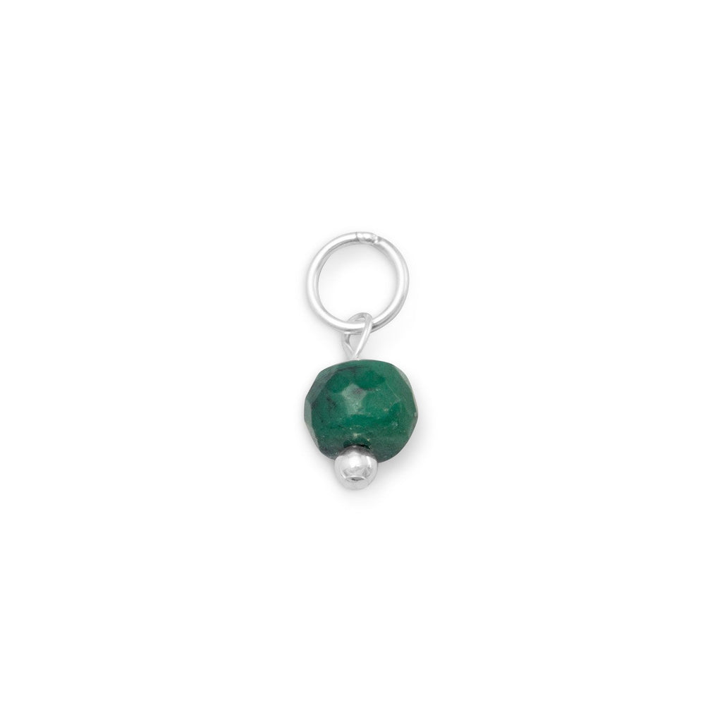 Sterling Silver Dyed Green Corundum May Bead Charm