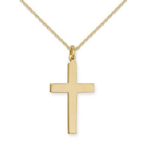 14k Gold-filled Plain Cross Pendant Necklace Polished Finish - Made in the USA