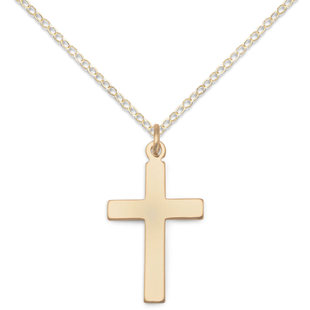 Boys, Girls 14k Gold-filled Cross Necklace 13-inch Adjustable - Made in the USA