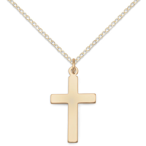 Boys, Girls 14k Gold-filled Cross Necklace 14-inch Adjustable - Made in the USA