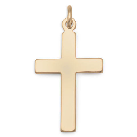 14k Gold-filled Plain Cross Pendant Polished Finish - Made in the USA, Pendant Only