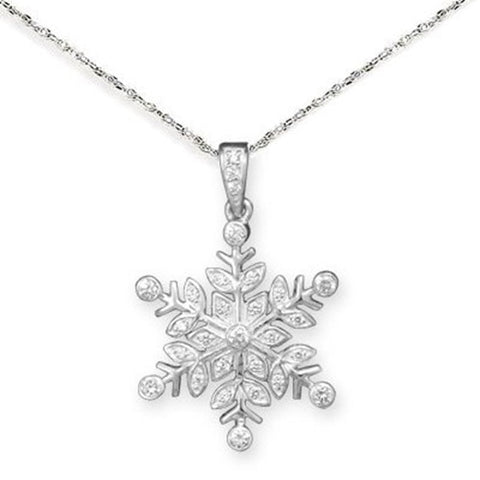 Snowflake Necklace Sparkling Cubic Zirconia Sterling Silver, with Rope Chain