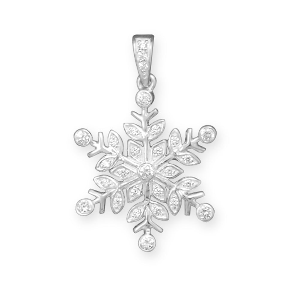 Snowflake Pendant Sparkling Cubic Zirconia Sterling Silver, Pendant Only