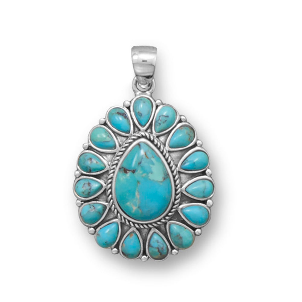Flower Pendant Reconstituted Turquoise Sterling Silver Pear Shapes