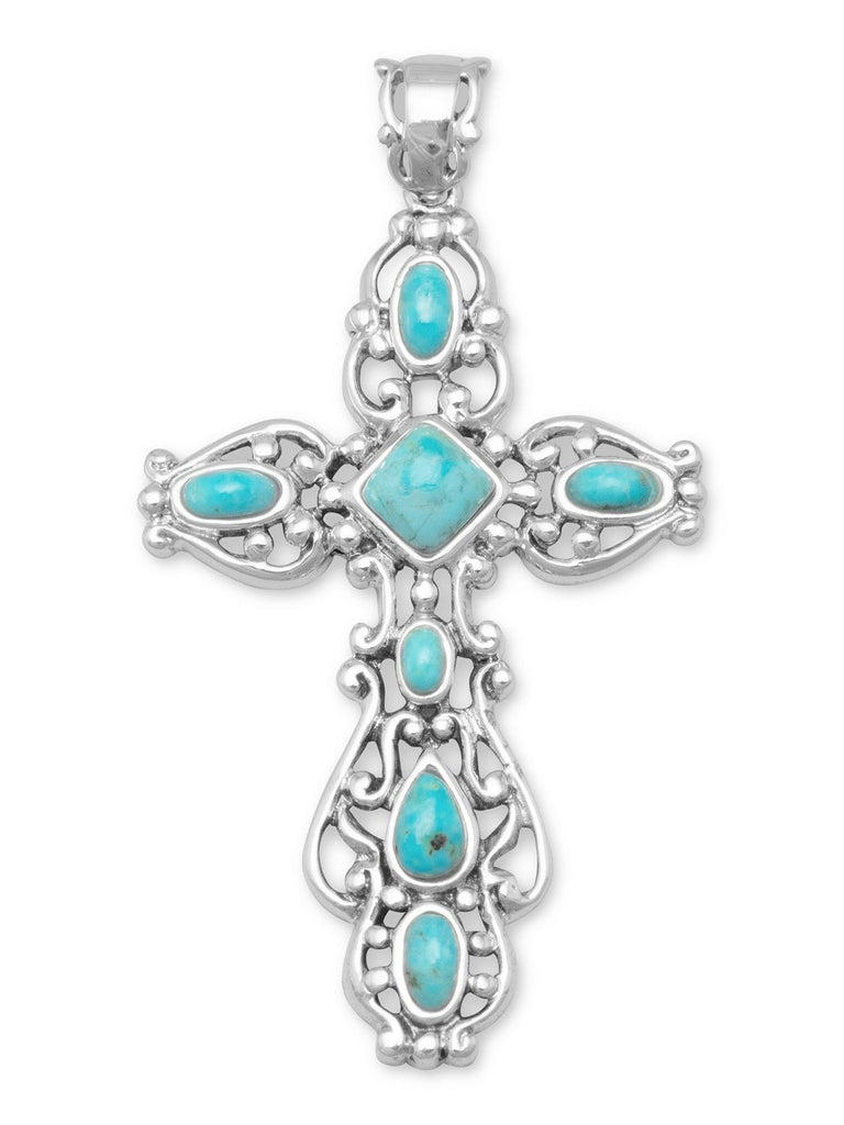 Reconstituted Turquoise Cross Pendant Sterling Silver, Pendant Only
