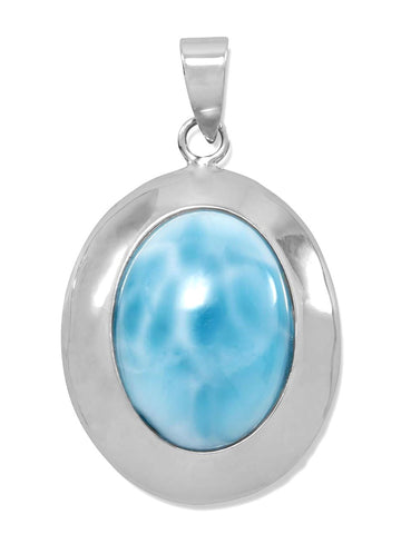 Sterling Silver Oval Blue Larimar Atlantis Stone Pendant