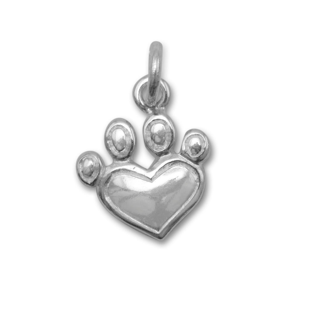 Paw Print Heart Charm Sterling Silver