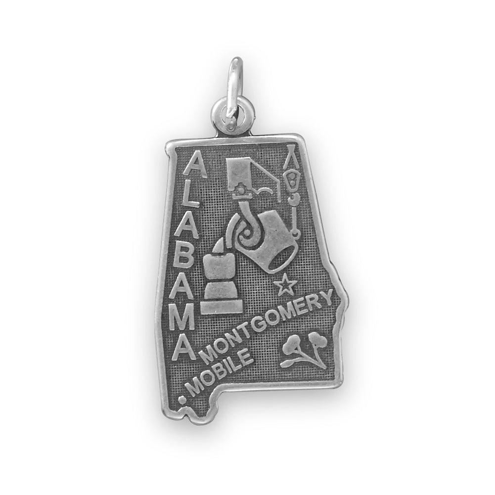 Alabama State Charm Antiqued Sterling Silver