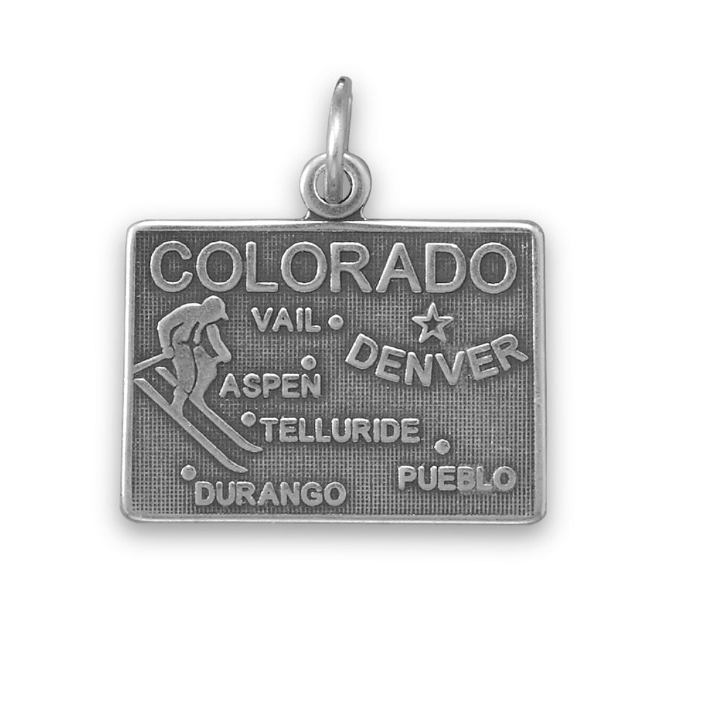 Colorado State Charm Antiqued Sterling Silver