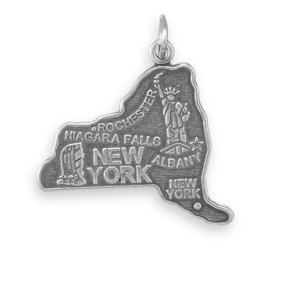New York State Charm Antiqued Sterling Silver