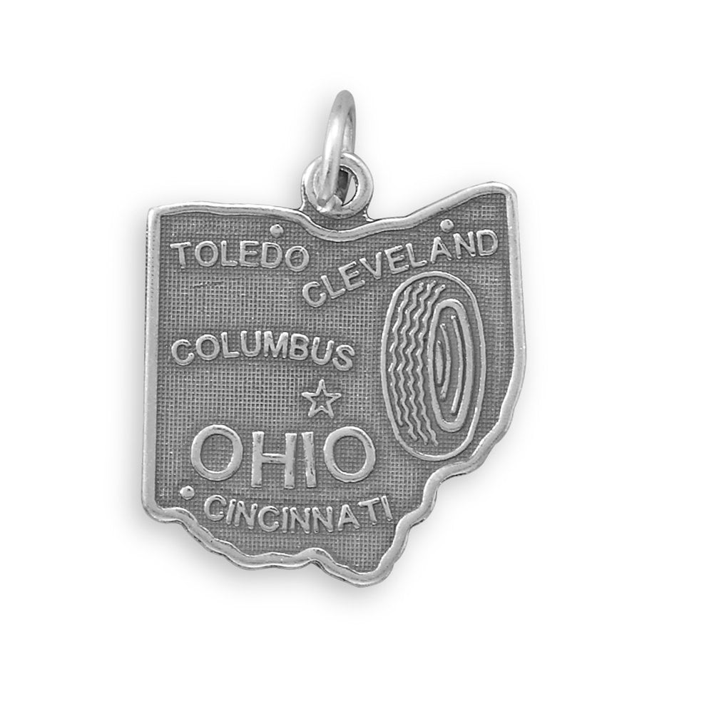 Ohio State Charm Antiqued Sterling Silver