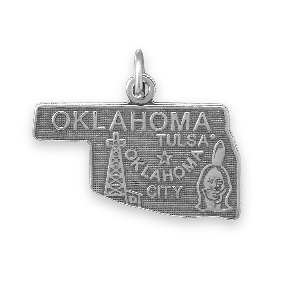 Oklahoma State Charm Antiqued Sterling Silver