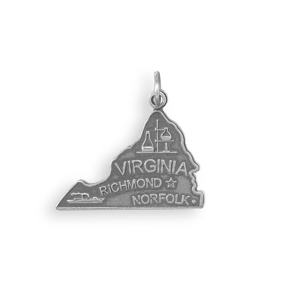 Virginia State Charm Antiqued Sterling Silver