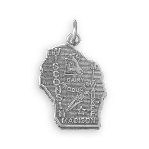 Wisconsin State Charm Antiqued Sterling Silver