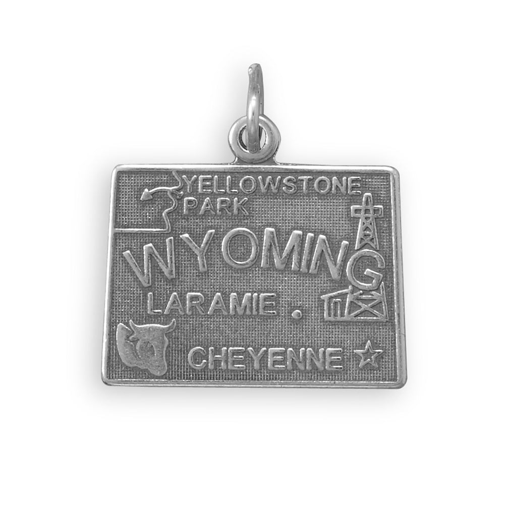 Wyoming State Charm Antiqued Sterling Silver