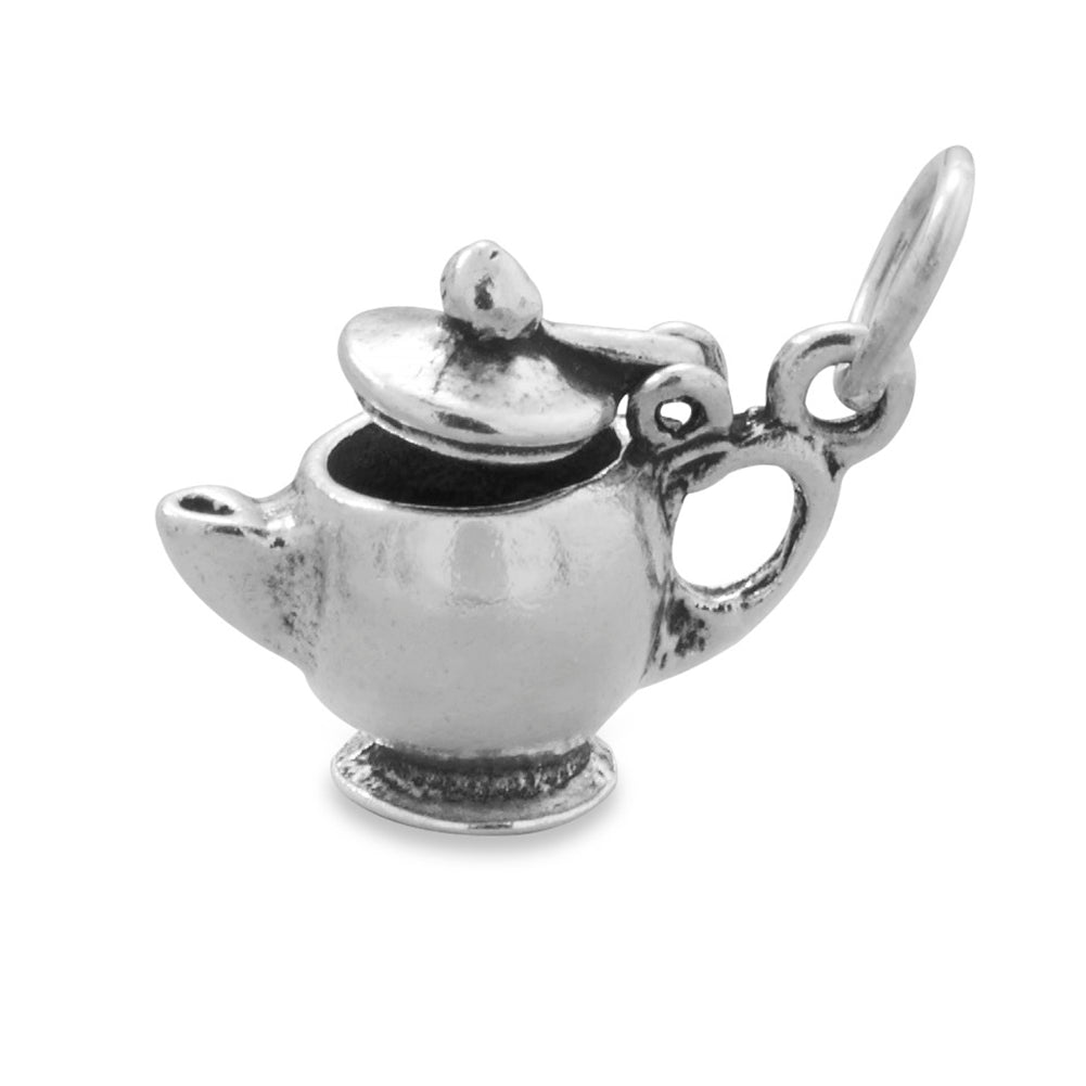 Tea Pot Charm with Lid that Opens and Closes Sterling Silver