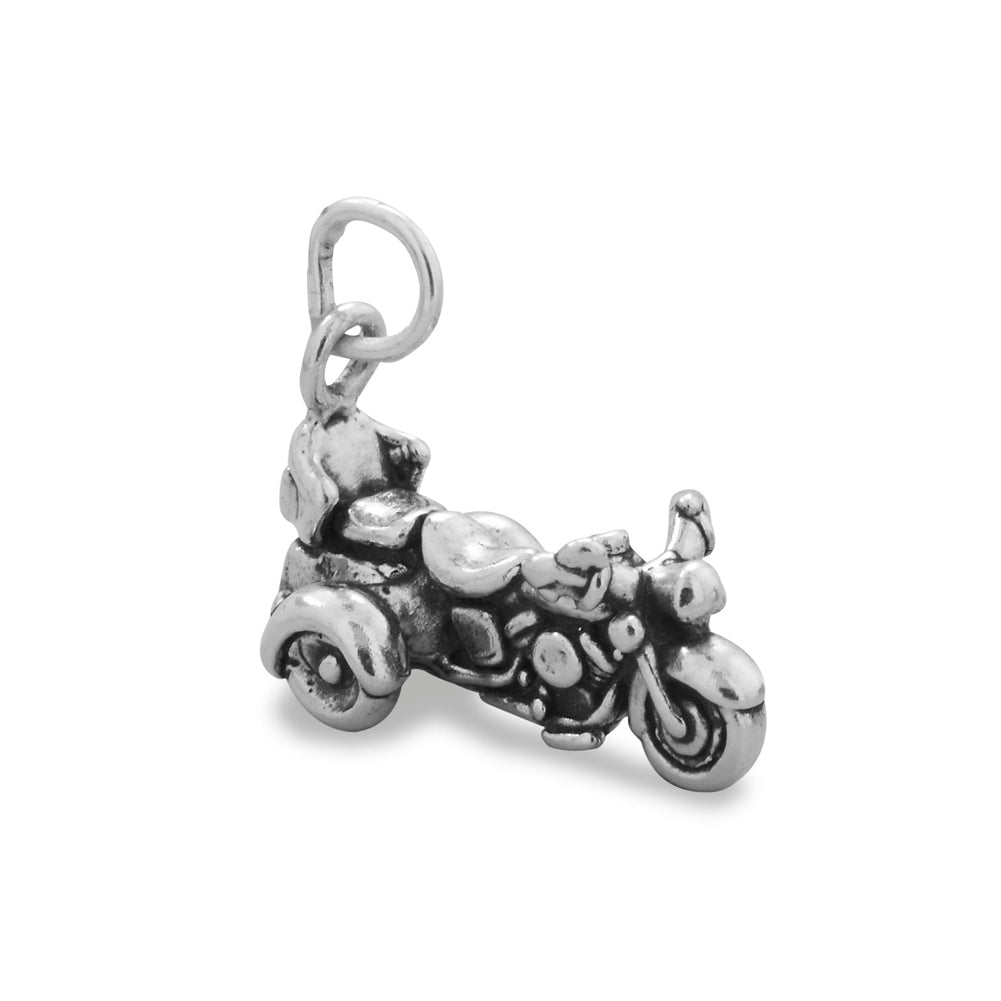 Motorcycle Trike Charm Sterling Silver Antiqued Finish