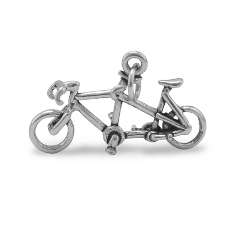 Tandem Bicycle Charm Sterling Silver Antiqued Finish