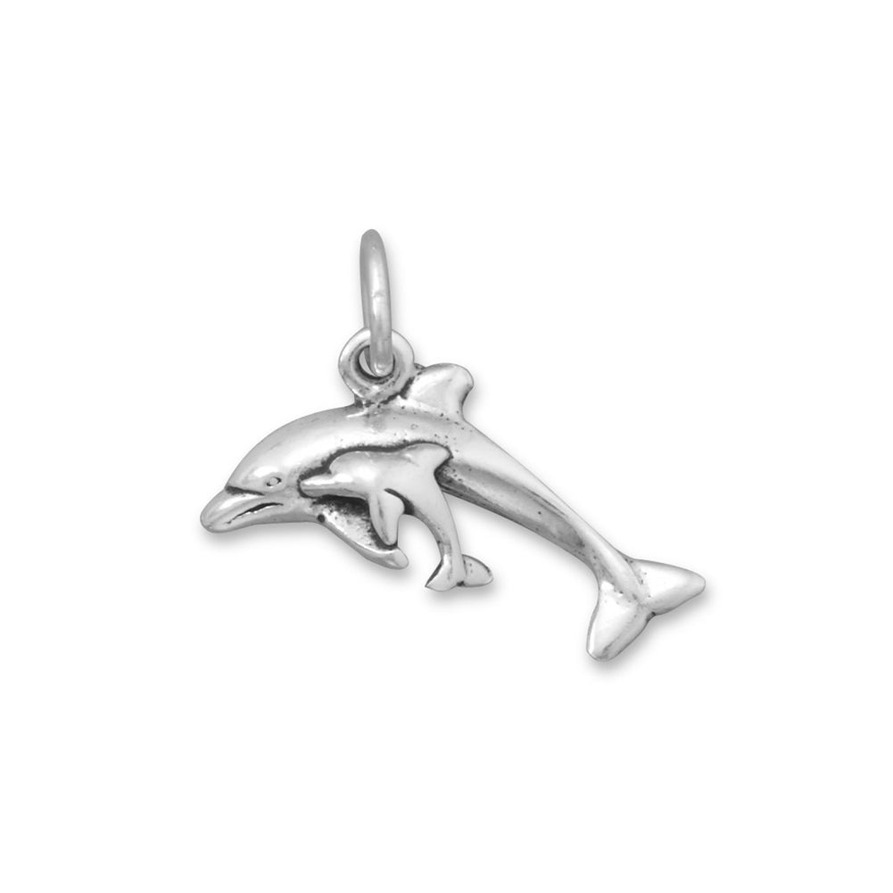 Dolphin with Baby Calf Sterling Silver Antiqued Finish