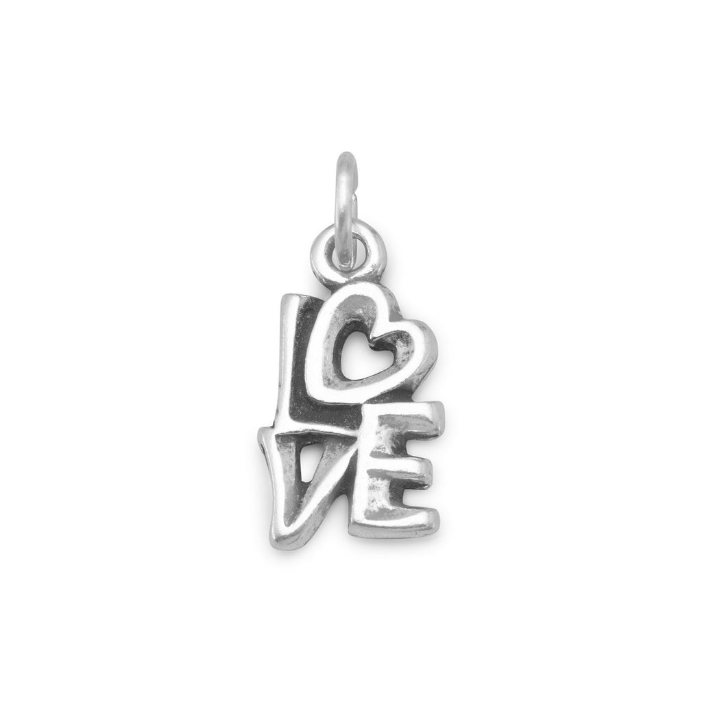 Love Charm with Heart Antiqued Finish Sterling Silver