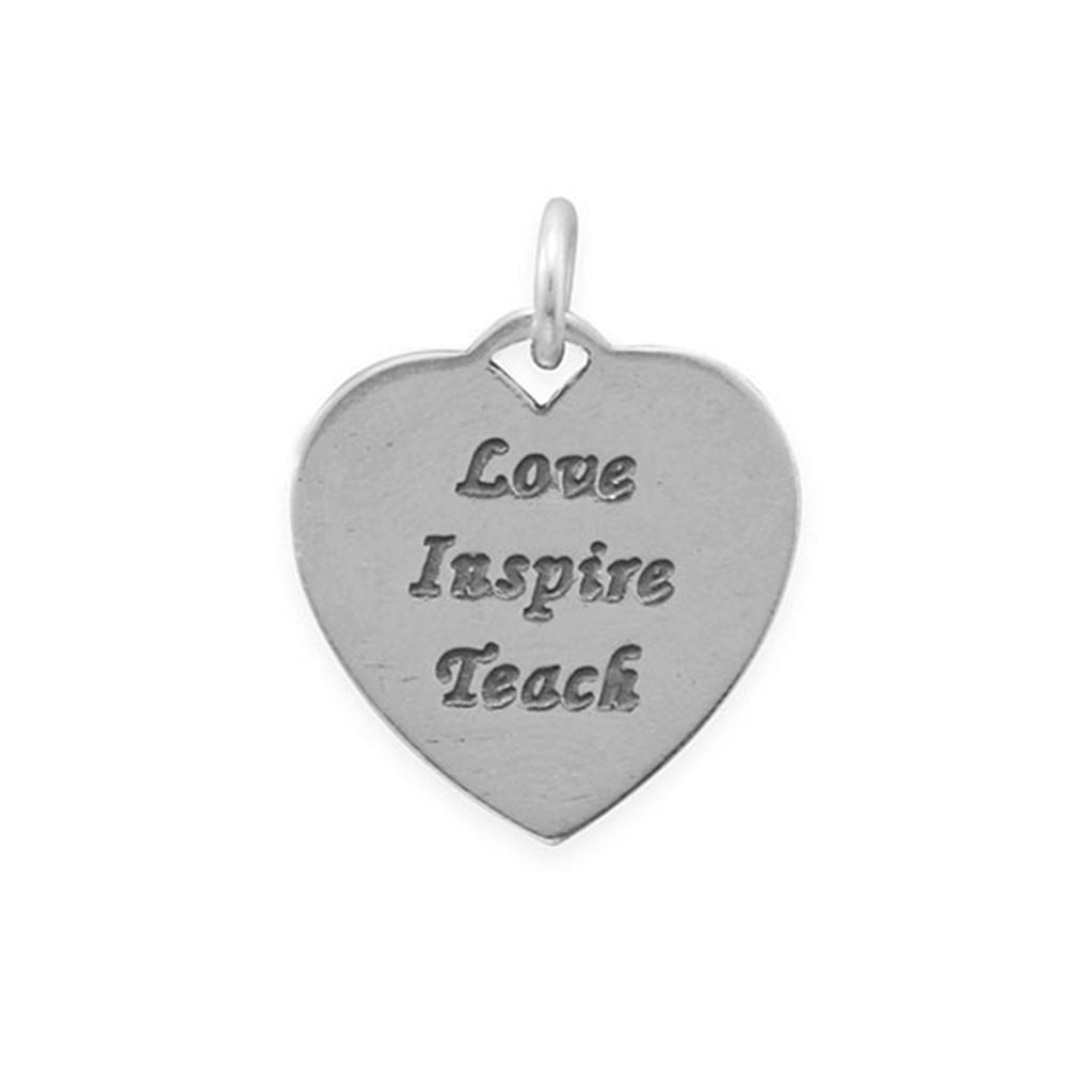 Love, Inspire, Teach Heart Charm Sterling Silver