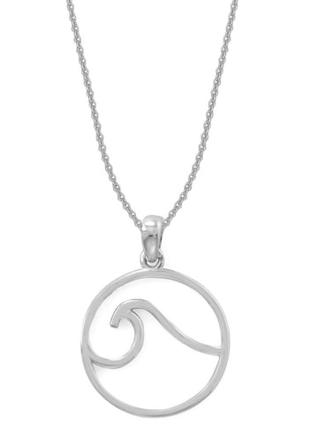 Circle and Ocean Wave Necklace Rhodium over Sterling Silver Adjustable Length