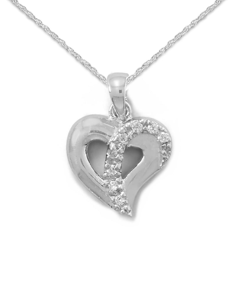 Heart Necklace Cubic Zirconia Rhodium on Sterling Silver with Chain