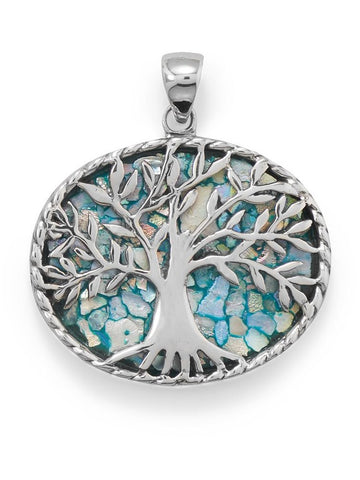 Ancient Roman Glass Tree of Life Pendant Necklace Sterling Silver, Pendant Only