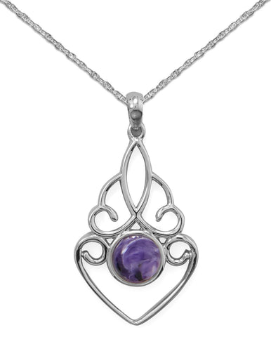 Purple Charoite Pendant Necklace, Includes Rope Chain Sterling Silver