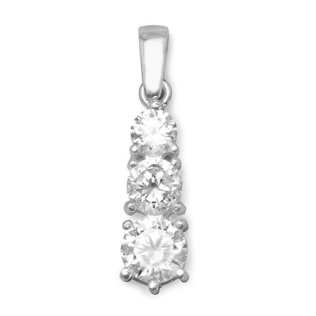 Three Stone Cubic Zirconia Journey Pendant Round Clear Sterling Silver