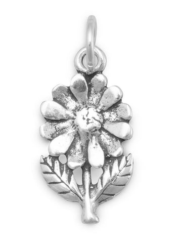 Flower with Stem and Leaves Charm Sterling Silver - Made in the USA