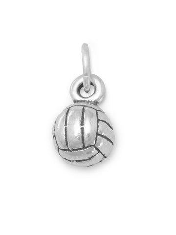 Small Volleyball Charm 3D Sterling Silver