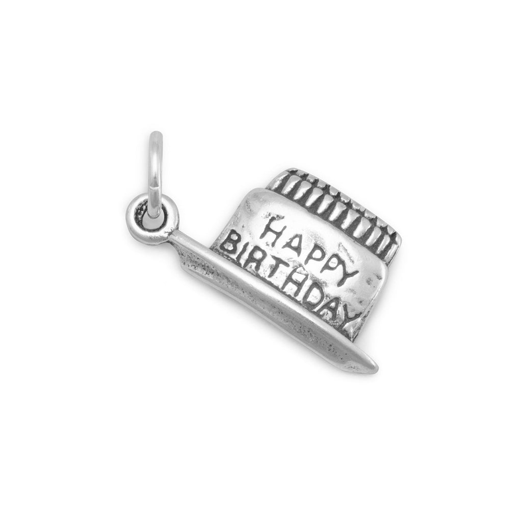 Happy Birthday Cake Charm Sterling Silver