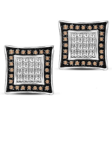 Genuine Brown Diamond Stud Earrings Square Kite Sterling Silver 1/20 CTW