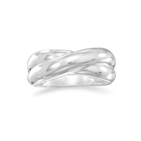 Polished X Style Kiss Sterling Silver Band Ring