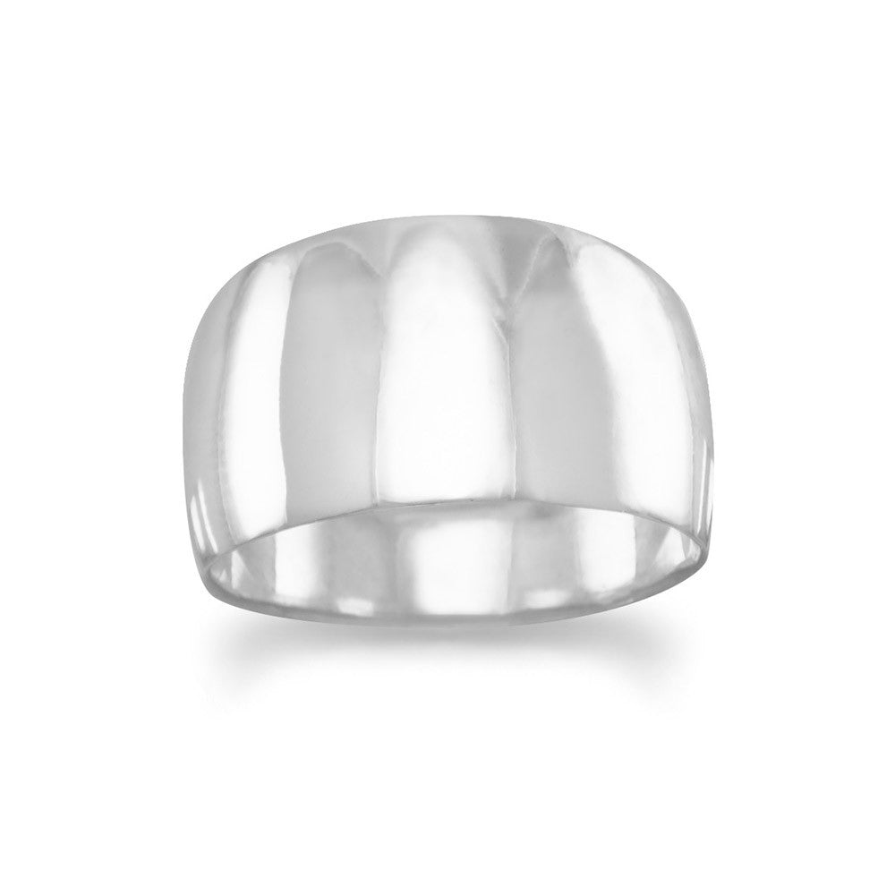 Wide Tapered Polished Sterling Silver Cigar Band Ring Mens Womens