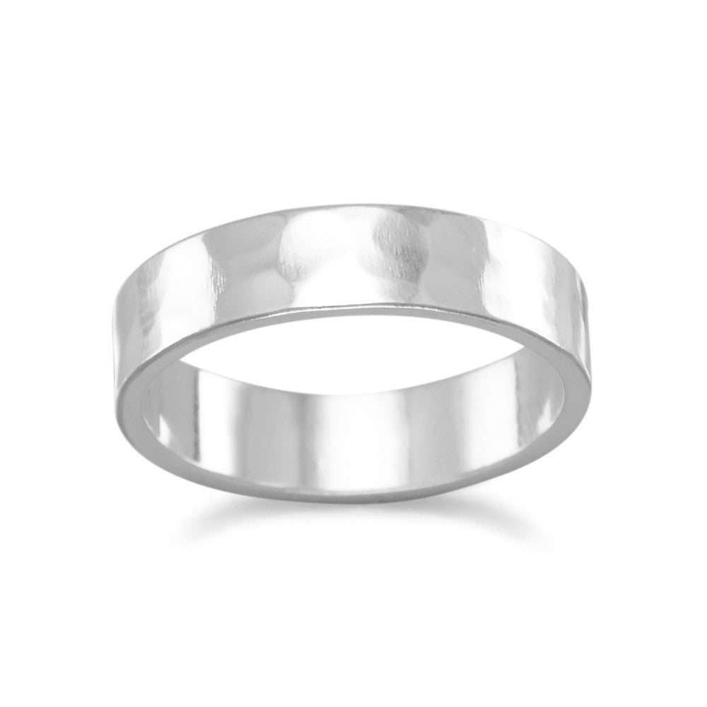Band Ring Hammered Sterling Silver 5mm