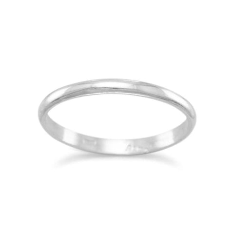 Wedding Band Ring Sterling Silver 2mm Width Made in the USA