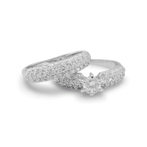 Wedding Ring Engagement Set Pave Cubic Zirconia Rhodium on Sterling Silver
